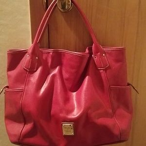 Large red leather Dooney bag